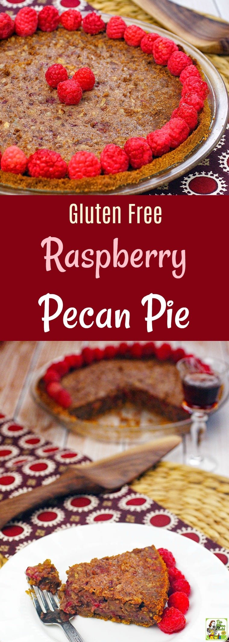 Looking for a unique recipe for pecan pie for Thanksgiving? Try this easy pecan pie recipe with raspberries! This Gluten Free Raspberry Pecan Pie can be made a day in advance. Comes with directions for making a gluten free pie crust from gluten free cookies. #glutenfree #pie #pi #Thanksgiving #pecan #pecans #raspberries #dessert #glutenfreedessert #glutenfreecrust #baking #piecrust #easypierecipe #easypiecrust