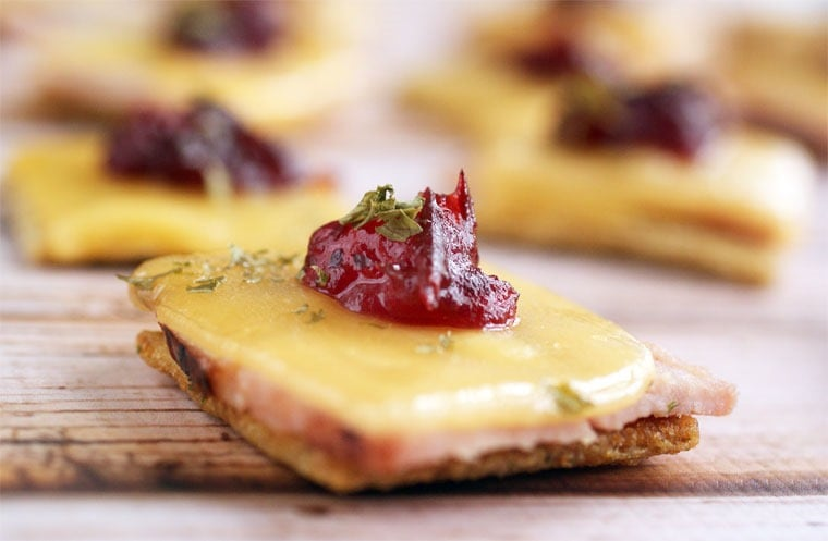 Ham & Gouda Triscuit Toppers appetizer recipe for Thanksgiving or holiday entertaining. Get the recipe at This Mama Cooks! On a Diet
