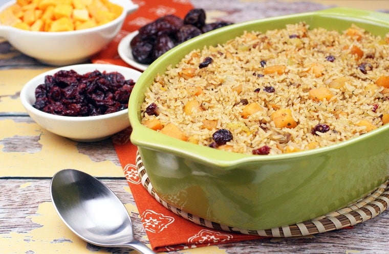 Jasmine Rice Stuffing with Butternut Squash, Dates & Cranberries. Get the Thanksgiving sides recipe at This Mama Cooks! On a Diet