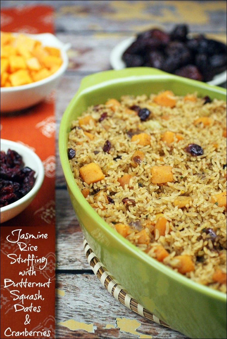 Looking for a gluten free stuffing recipe for Thanksgiving? Try Jasmine Rice Stuffing with Butternut Squash, Dates & Cranberries. It can be made vegetarian and dairy free. Get the quick and easy Thanksgiving recipe at This Mama Cooks! On a Diet