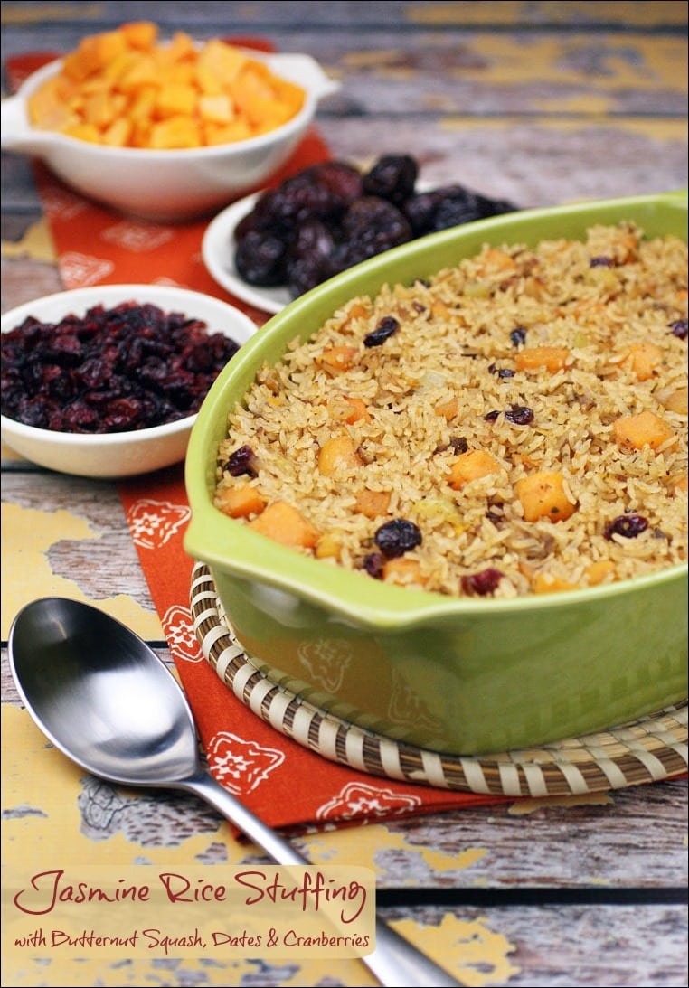 Need a healthy, vegetarian recipe for Thanksgiving? Try Jasmine Rice Stuffing with Butternut Squash, Dates & Cranberries. It's also gluten free and can be made dairy free, too! Get the quick and easy Thanksgiving recipe at This Mama Cooks! On a Diet