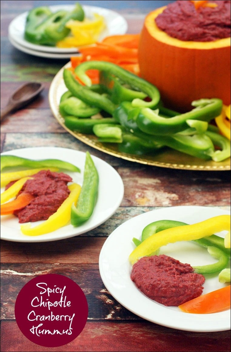 Got leftover cranberry sauce from Thanksgiving? Make Spicy Chipotle Cranberry Hummus! Get this quick and easy recipe at This Mama Cooks! On a Diet