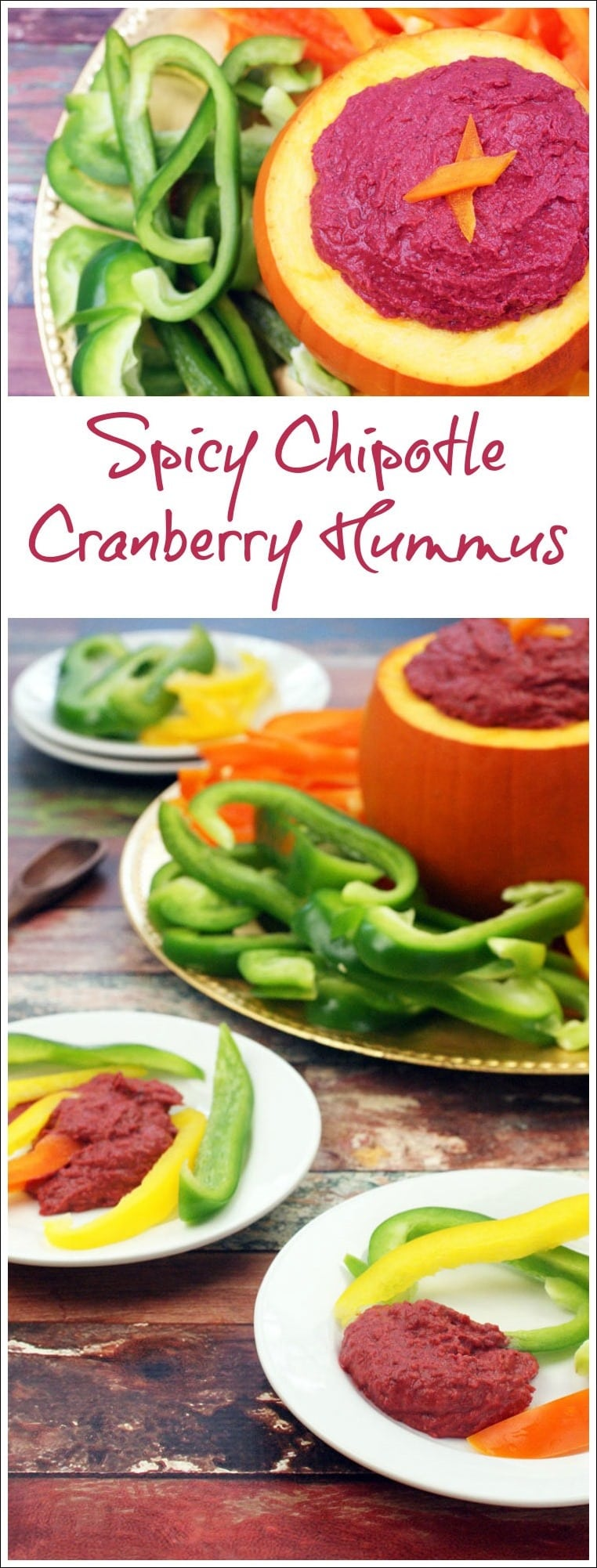 Got leftover cranberry sauce from Thanksgiving? Make Spicy Chipotle Cranberry Hummus! It's healthy and gluten free. Get this quick and easy party appetizer recipe at This Mama Cooks! On a Diet