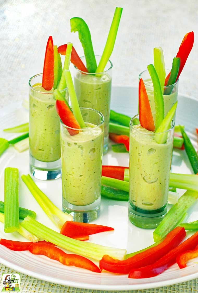 This avocado dips recipe is served in a tall shot glass making it an easy-to-eat party appetizer.