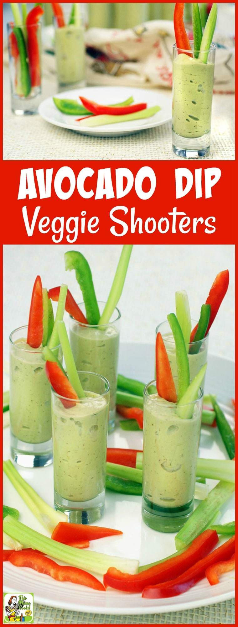 Want to make some healthy green dip recipes for St. Patrick's Day? Then make up a batch of Avocado Dip Veggie Shooters. This healthy party appetizer is made with yogurt and avocados. Served in shot glasses with vegetable crudites, it's the perfect party snack for your guests to nosh on while they mingle. #avocado #dip #appetizers #partyfood #healthy #healthyappetizers #healthyfood #healthyrecipes #avocados #vegetables #stpatricksday #green #snack
