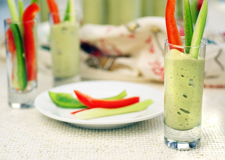 Avocado & Yogurt Veggie Shooters. Get this easy party appetizer recipe at This Mama Cooks! On a Diet