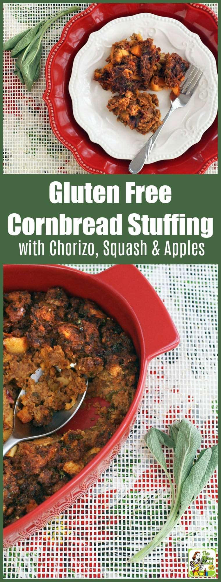 Gluten Free Cornbread Stuffing Recipe with Chorizo, Squash & Apples