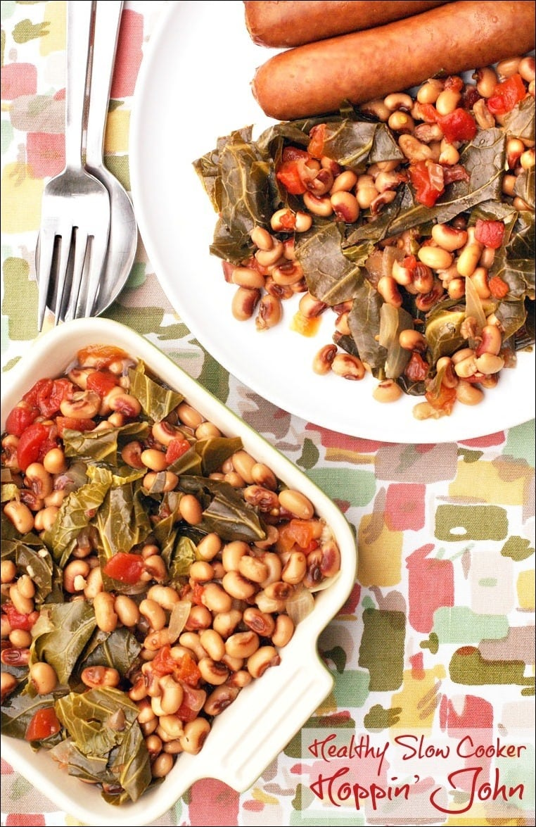 Need a healthy hoppin john recipe for New Year's day? Try this hoppin john recipe from This Mama Cooks! On a Diet. This easy recipe can be make in your slow cooker with canned beans!