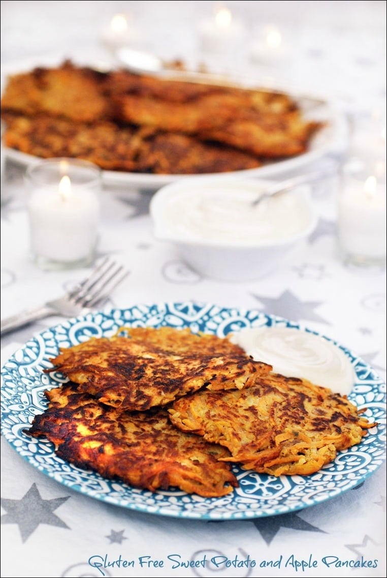 Love potato pancakes? Try these Gluten Free Sweet Potato and Apple Pancakes sweetened with apples and brown sugar! Get the recipe at This Mama Cooks! On a Diet