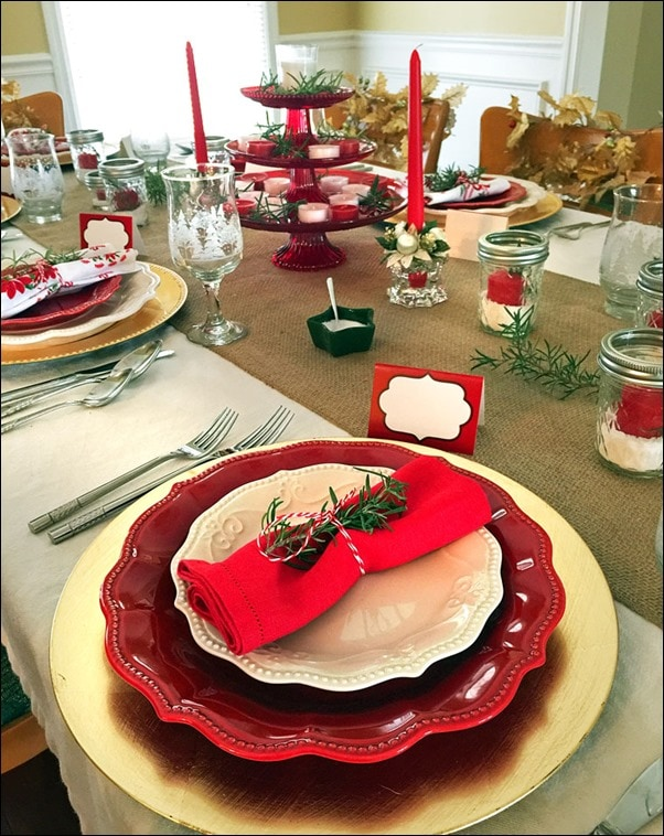 """This year's holiday theme is """"Red, White and Country."""" Having a theme makes holiday decorating fall into place. Get more easy holiday decorating tips at This Mama Cooks! On a Diet"""