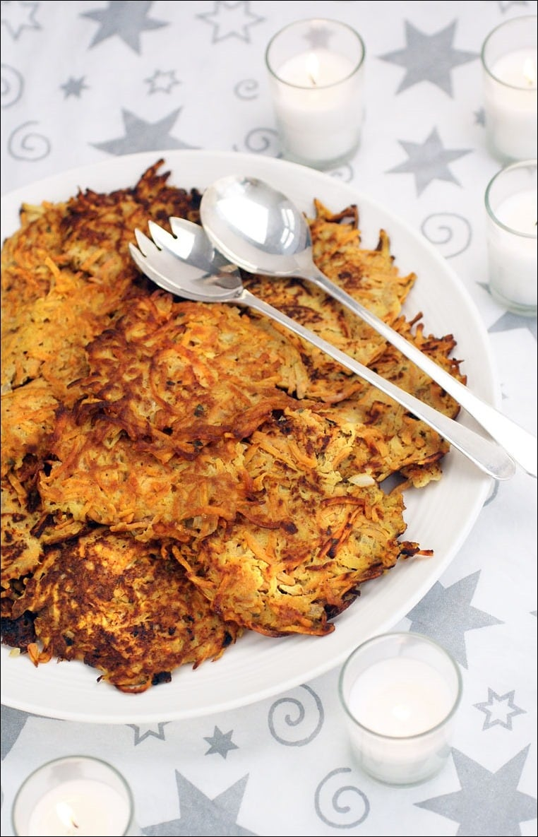 Looking for a gluten free pancake recipe for Hanukkah? Try these Gluten Free Sweet Potato and Apple Pancakes! Get the recipe at This Mama Cooks! On a Diet