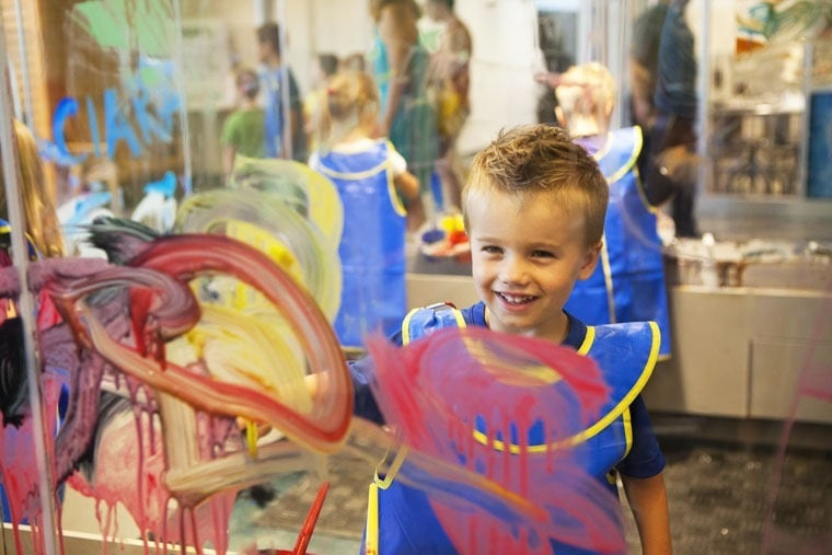 Looking for fun things to do with kids in Northwest Arkansas? Come play in the art studio at the Scott Family Amuzem! Learn more about more fun things to do in Bentonville, Arkansas on your NWA family vacation at This Mama Cooks! On a Diet.