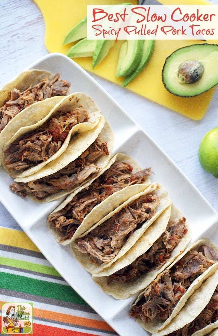 Looking for a new slow cooker pork loin recipe? Try this Best Slow Cooker Spicy Pulled Pork Tacos recipe. Your family will love it for Taco Night or Taco Tuesday! It's also great for burritos, taco bowls, or to serve at parties!