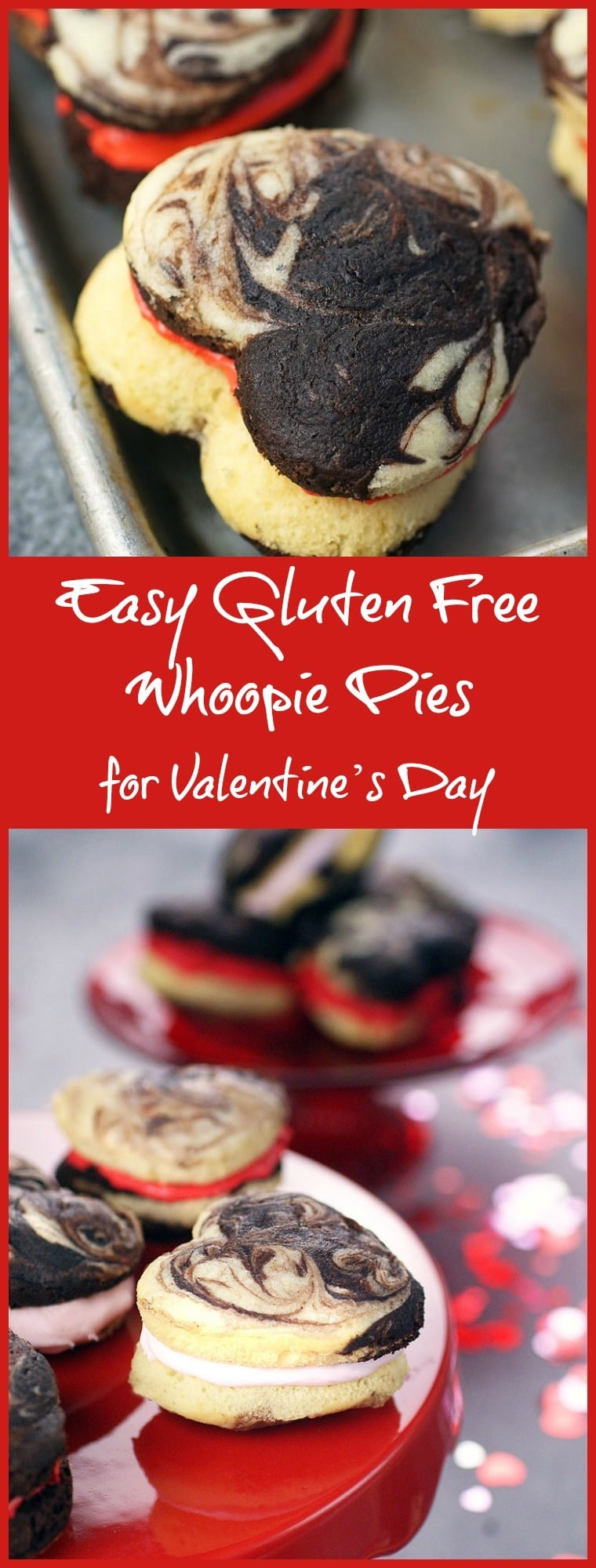 Looking for a special gluten free dessert treat for Valentine's Day? Click to try this recipe for Easy Gluten Free Whoopie Pies!