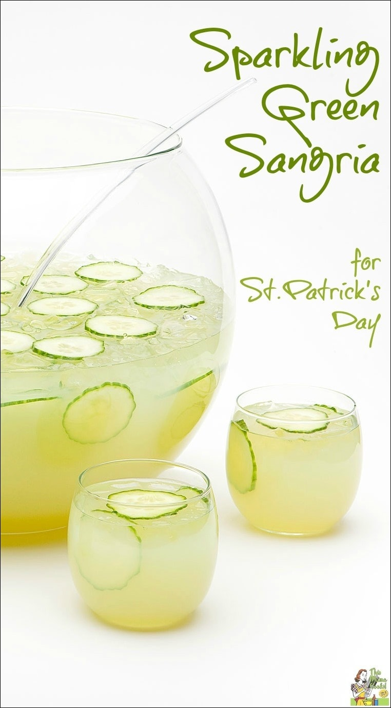 Sparkling Green Sangria for St. Patrick's Day. Try this refreshing gluten free green cocktail recipe as an alternative to green beer!