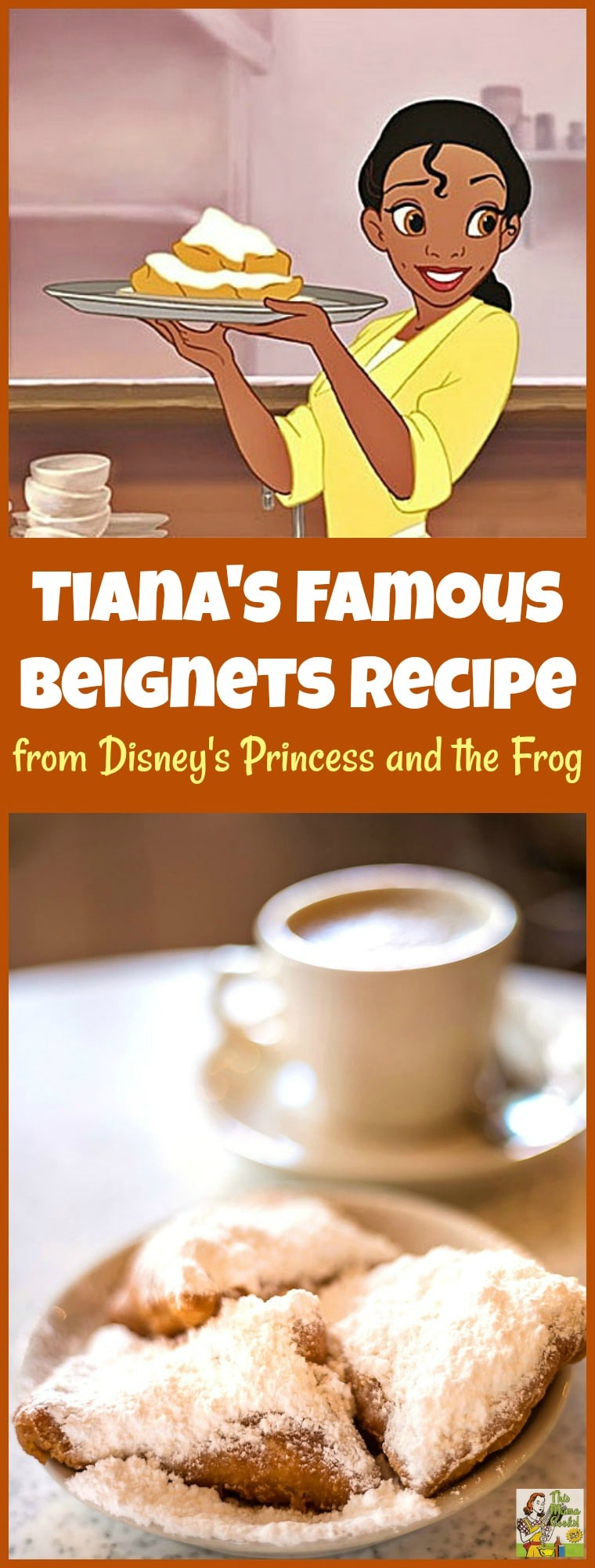Are you looking for a beignet recipe like they make in New Orleans? Try Tiana's Famous Beignets recipe from the Princess and the Frog movie and cookbook! #disneyprincess #disney #neworleans  #beignets #pastries #cookingwithkids #mardigras #mardigrasparty #baking #bakingrecipes #easybaking #breakfast #brunch #desserts #dessertrecipes #dessertideas