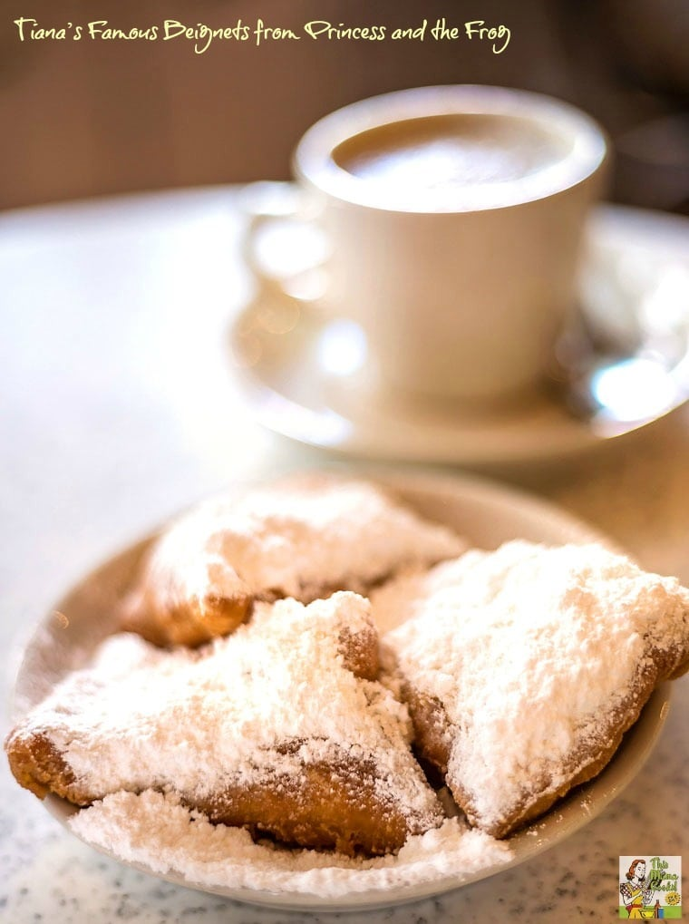 Are you looking for an easy beignet recipe? Try Tiana's Famous Beignets recipe from the Princess and the Frog movie and cookbook!  #baking #disneyprincess #dessert #breakfast #neworleans #princess #disney #beignet #pastries #donut #donuts #cookingwithkids #mardigras