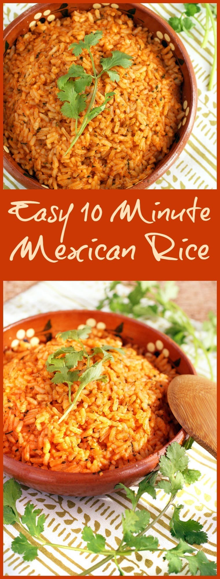 It's not taco night unless you have Mexican restaurant style rice. It's so simple to prepare if you have this Easy 10 Minute Mexican Rice recipe! Can be made gluten free and vegetarian, too! #glutenfree #mexicanfood #rice #vegetarian #copycatrecipes #mexicanrice #taconight