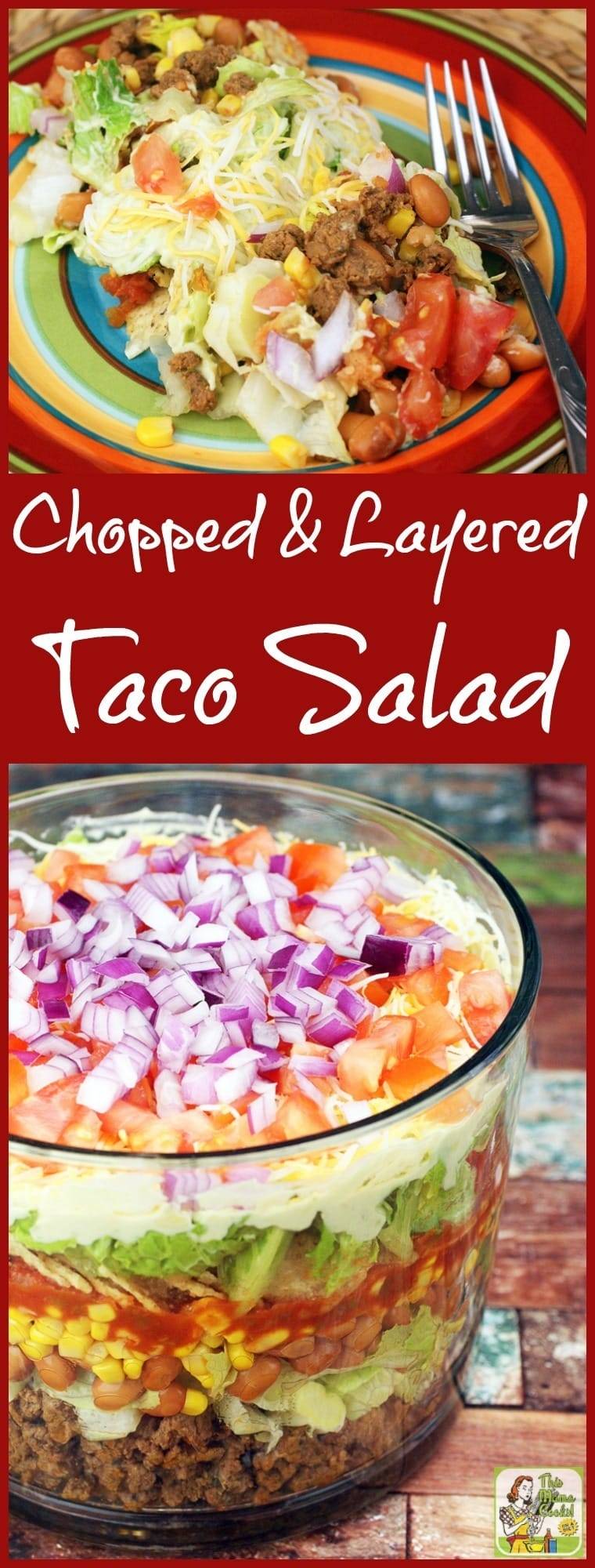 Looking for a healthy taco salad recipe for dinner? Try this Chopped & Layered Taco Salad recipe! Serve it in a trifle bowl or punch bowl. Click to get this ideal potluck taco salad recipe! #tacosalad #salad #mexicanfood #healthyrecipe #healthyrecipes #tacos #easyrecipe #groundmeat #beef