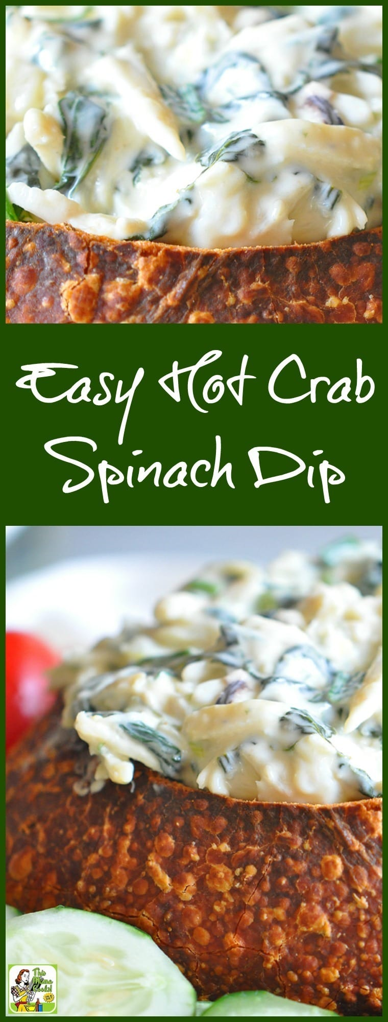 Need a healthy dip appetizer recipe for your party? Try this Easy Hot Crab Spinach Dip Baked in French Bread recipe!