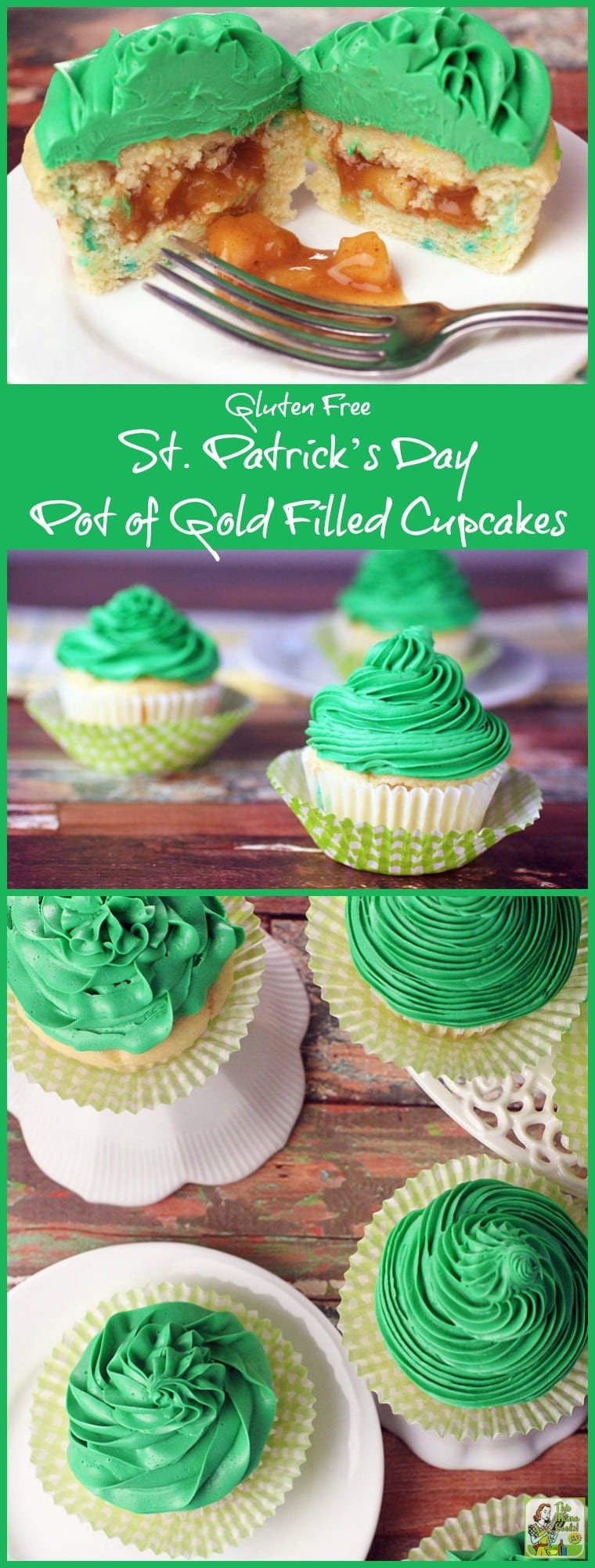Making this Gluten Free St. Patrick's Day Pot of Gold Filled Cupcakes recipe is easier than you think. This gluten free cupcake recipe uses box mix and gluten free frosting from the store. The apple pie filling can be made on your stovetop in less than 30 minutes. Use this cupcake filing technique for other holidays besides St. Patrick's Day when you need a fun gluten free dessert!