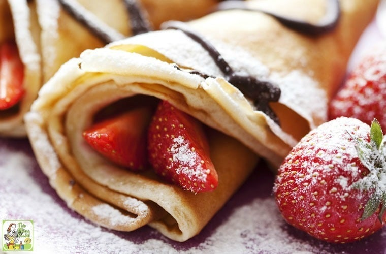 No Flour, No Sugar Crepes with Strawberries & Chocolate Sauce. Gluten free, paleo friendly recipe.