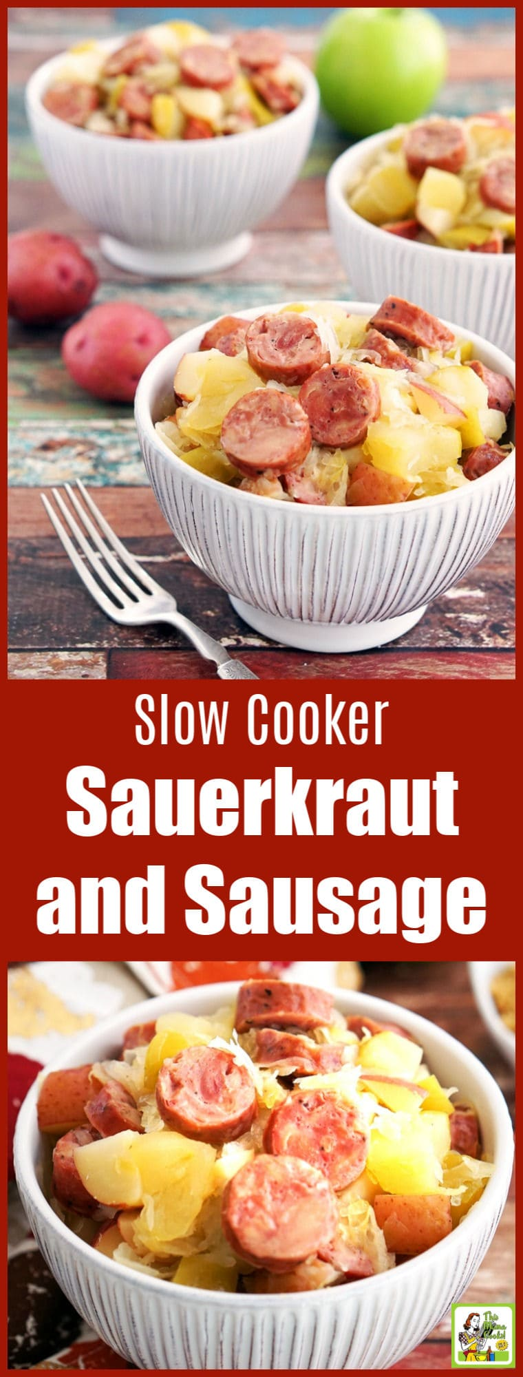 Slow Cooker Sauerkraut and Sausage Recipe with Apples and Potatoes