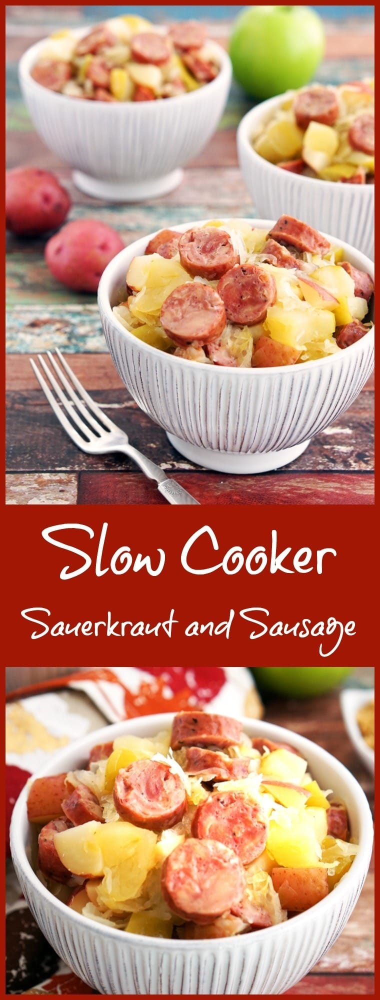 Are you looking for a gluten free Crock-Pot recipe? This Slow Cooker Sauerkraut and Sausage with Apples and Potatoes takes only 15 minutes to prepare! Makes a great party or potluck recipe, too.