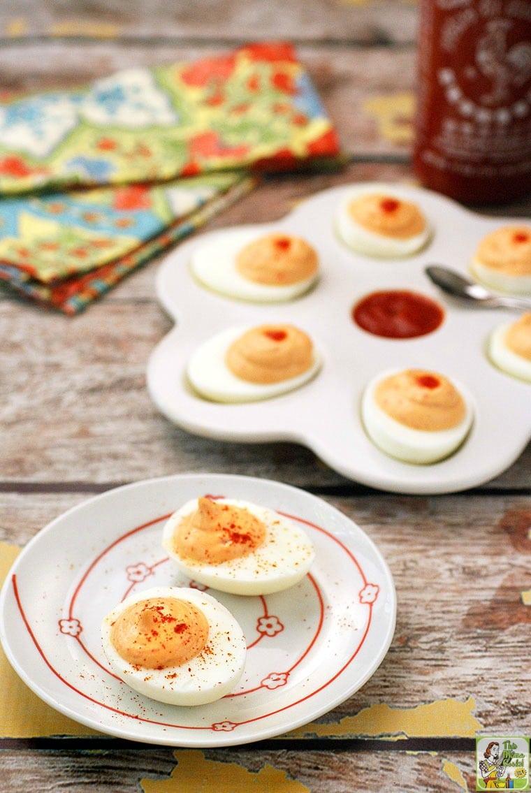 Two plates of Sriracha Deviled Eggs