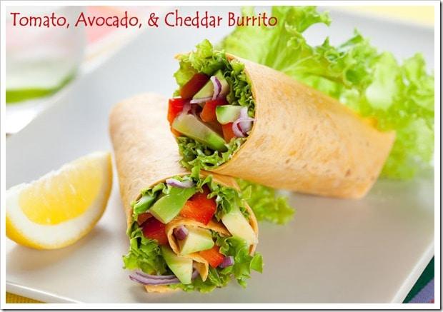 Tomato-Avocado-Cheddar-Burrito