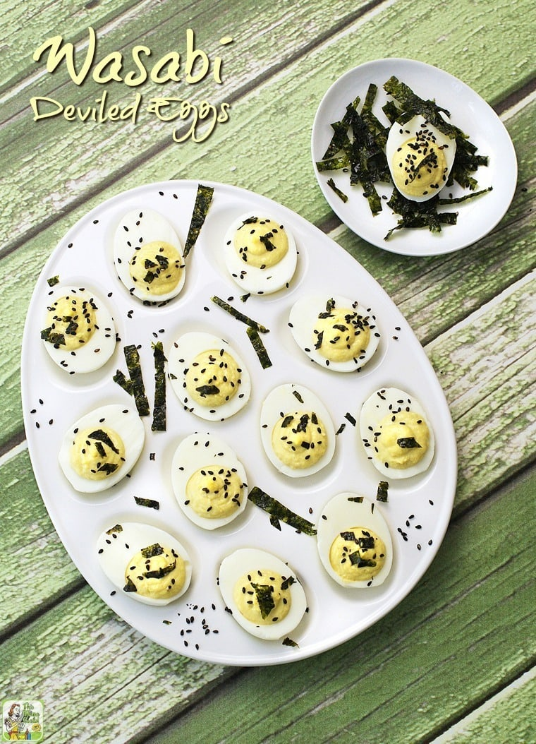 Easy to make Wasabi Deviled Eggs. A spicy and gluten free deviled egg recipe that's ideal for Easter hard boiled eggs or for your next party!