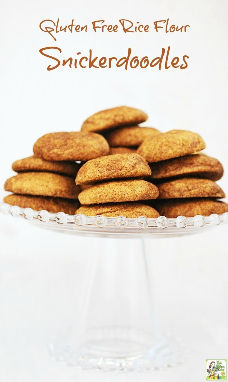 Try this easy to make Gluten Free Rice Flour Snickerdoodles cookies recipe as a gift for all your gluten free friends. They'll thank you for it!