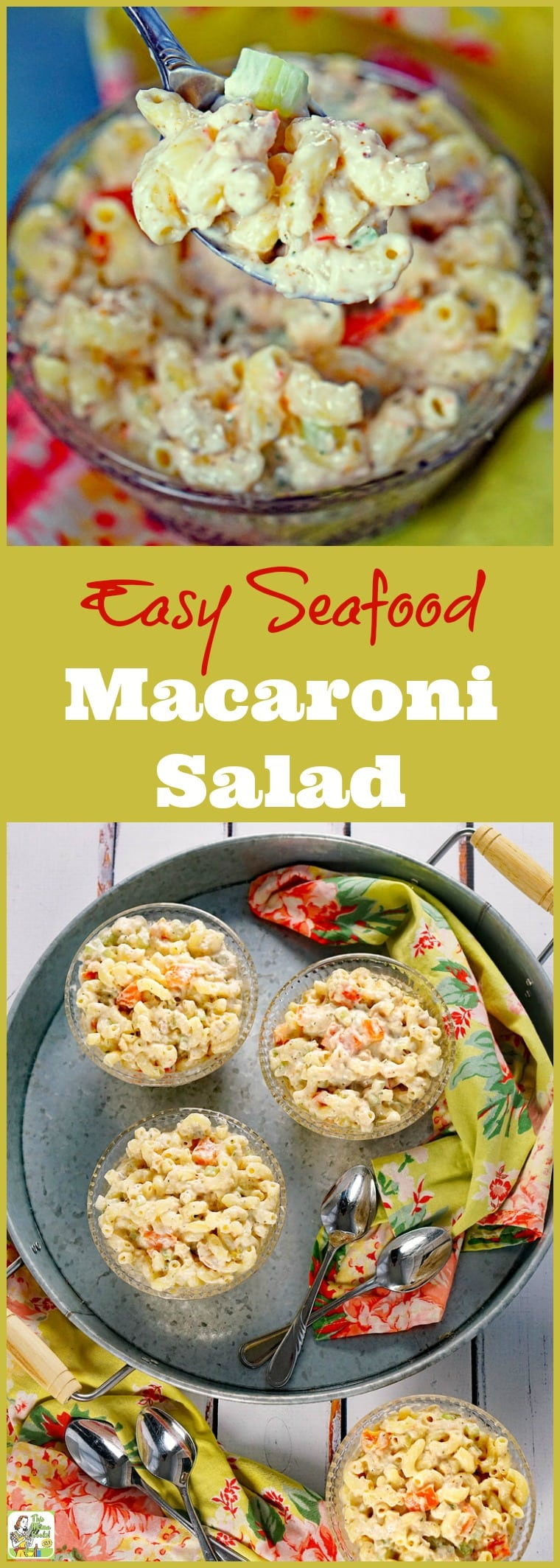 Need the perfect Easy Seafood Macaroni Salad for your brunch or barbecue party? Click to get this easy pasta salad recipe contains baby shrimp, bell peppers, dill, seafood seasoning blend, and lite mayonnaise. It can be made with gluten free or whole wheat macaroni, too!