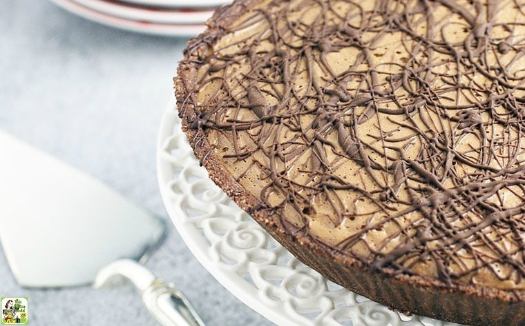 Espresso Chocolate No Bake Pie. This vegan, dairy free and gluten free dessert recipe is made with silken tofu and soymilk.