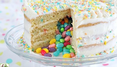 Gluten Free Surprise Inside Jelly Bean Cake (also called a pinata cake).