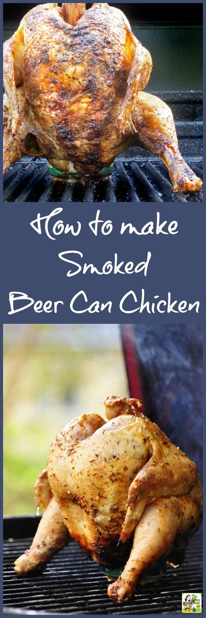 Making smoked beer can chicken is easier than you think if you use bottled marinade or salad dressing and a store-bought barbeque rub. Cook the beer can chicken in an electric or gas smoker. Or you can smoke beer can chicken in a grill type smoker like a Green Egg or Kamodo Joe. Best of all? Smoked beer can chicken tastes great and is worth the little bit of effort! #chicken #beercanchicken #smoking #grilling #smokedmeats #poultry #beercancooking #greenegg #kamodojoe