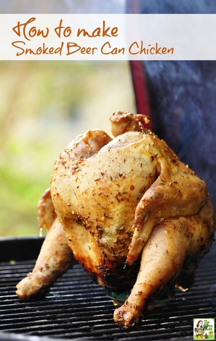Making smoked beer can chicken is easier than you think. You can do it in an electric or gas smoker or in a grill that you can smoke in like a Green Egg or Kamodo Joe. Smoked beer can chicken tastes great and is worth the little bit of effort!  #chicken #beercanchicken #smoking #grilling #smokedmeats #poultry #beercancooking #greenegg #kamodojoe #easyrecipe