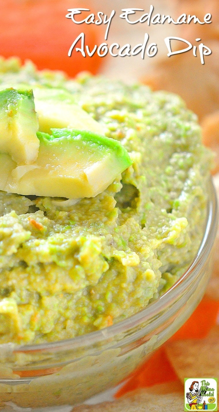 Looking for a healthy dip recipe for your party? Try this quick and Easy Edamame Avocado Dip recipe! It's naturally gluten free and can be made in just a few minutes!