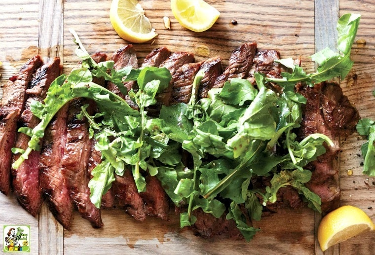 Make this easy Soy-Lemon Flank Steak with Arugula recipe for dinner tonight or triple as a barbecue party grilling recipe!