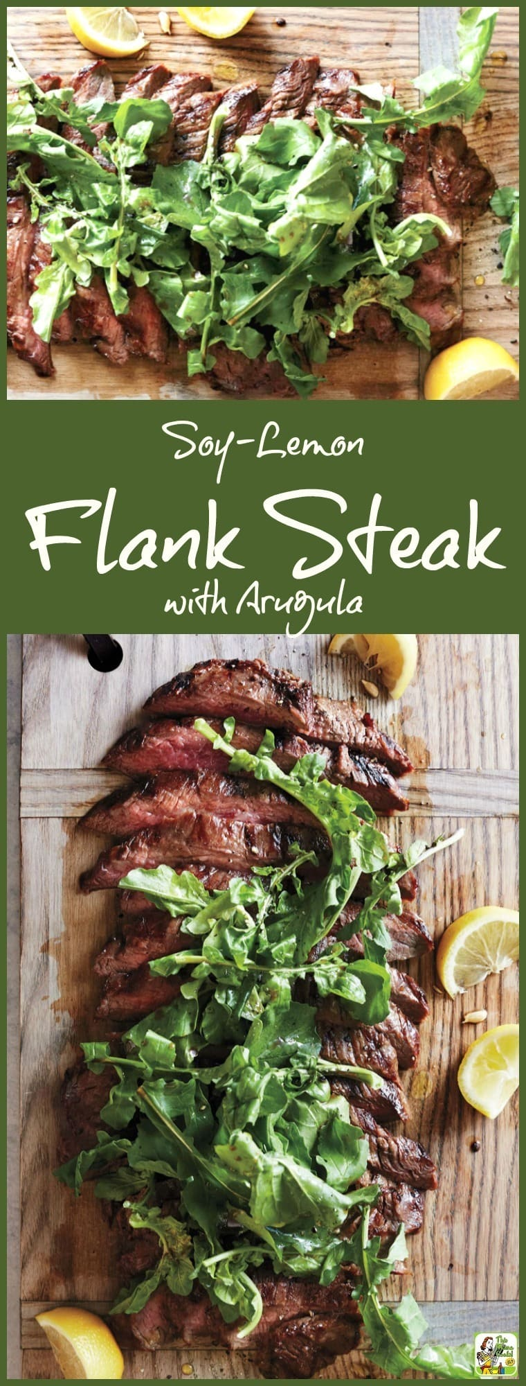 Love to grill? Then you'll enjoy making this easy Soy-Lemon Flank Steak with Arugula recipe. Super simple preparation. Easy enough to make in the morning before work or when you get home before dinner. Use as a weeknight dinner recipe or triple for the perfect backyard barbecue grilling recipe!