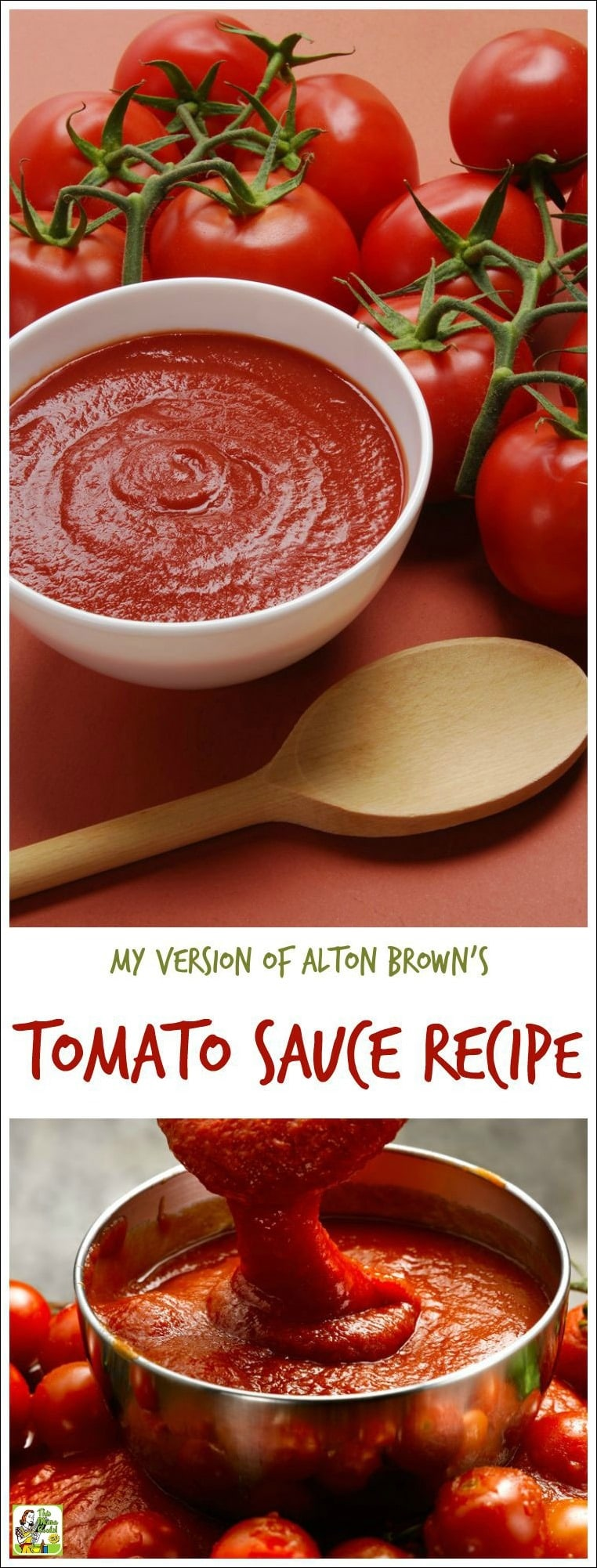 Looking for an easy homemade tomato sauce recipe? Or want to make easy fresh tomato pasta sauce from scratch? Here's my version of Alton Brown's tomato sauce recipe. Double the recipe and freeze half and you'll have spaghetti sauce in the freezer ready to go for dinner later!