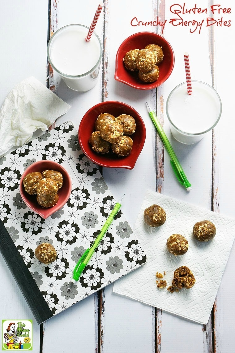 Looking for a gluten free and allergy free back to school snack recipe? Try this Gluten Free Crunchy Energy Bites recipe! They're also a nut free homemade energy bite recipe.