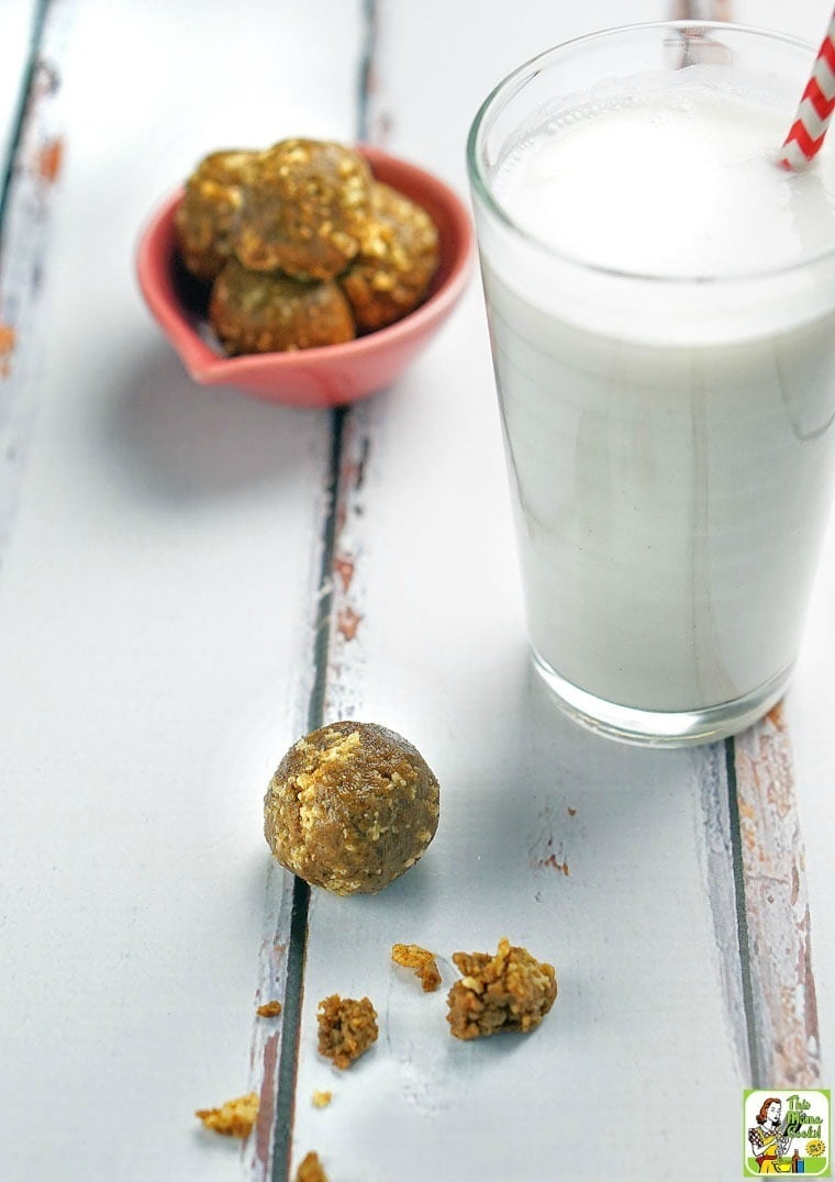 Looking for a healthy snack recipe? Try these Gluten Free  Crunchy Energy Bites. They're also nut free, dairy free, and perfect for on-the-go snacking!