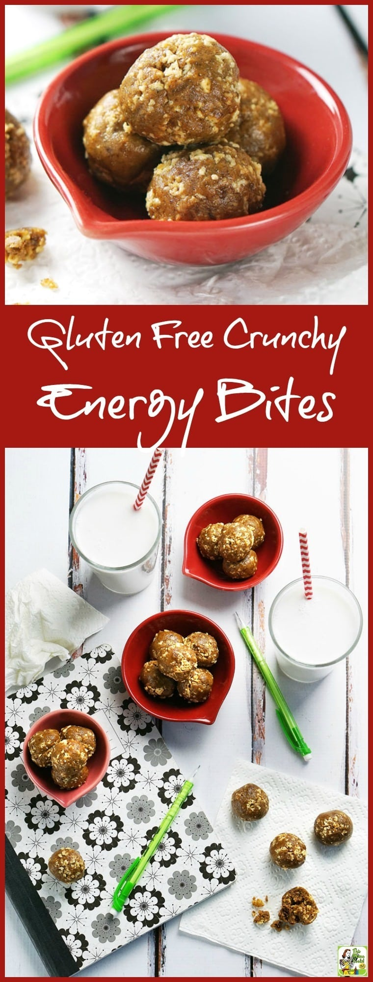 If you're looking for an allergy free snack recipe, try these Gluten Free Crunchy Energy Bites! Kids love them and moms love serving them. They're super easy to make, too. Perfect for breakfast on the go, pack them in your lunch back, or take them to after school activities for a quick, healthy snack.  Make up a double batch and freeze so you always have some healthy no cook energy bites on hand to take to with you when you're on the go!
