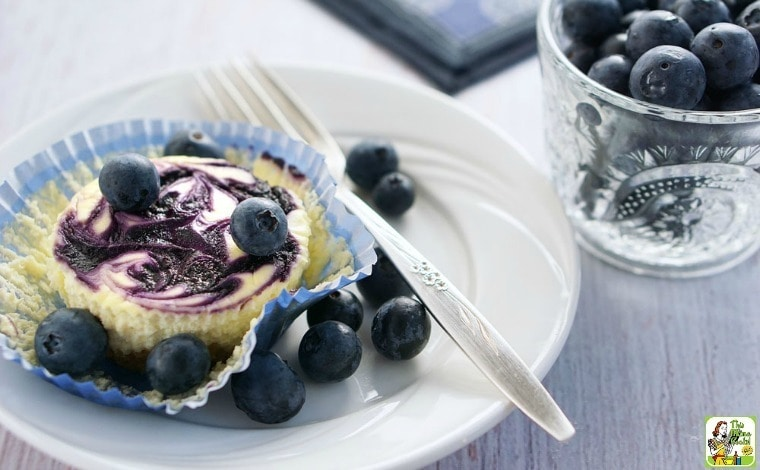 Gluten Free Mini Blueberry Swirl Cheesecakes