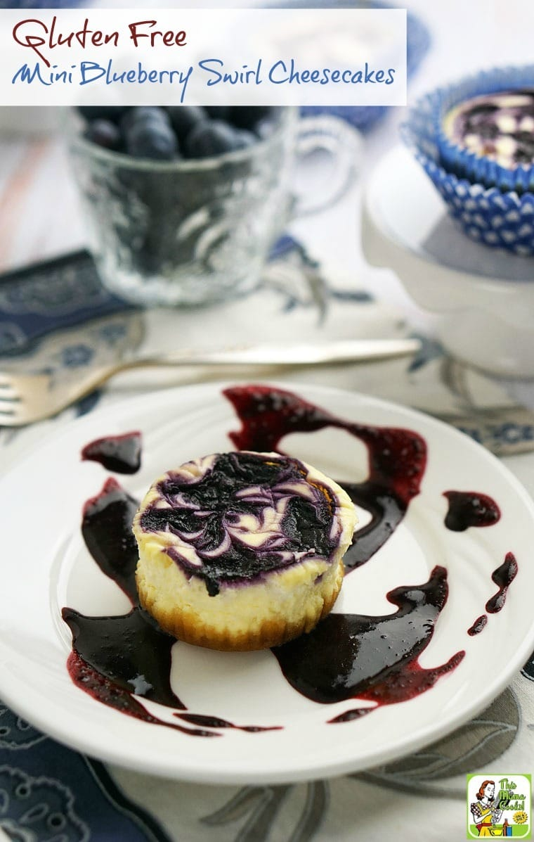 This easy to make Gluten Free Mini Blueberry Swirl Cheesecakes recipe is perfect for backyard barbecues, summer picnics, or potluck parties!