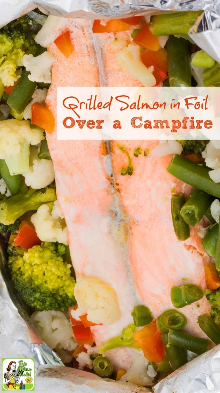 Need an easy camping recipe? Make this Grilled Salmon in Foil Over a Campfire recipe with a side dish of vegetables. It's delicious and healthy!