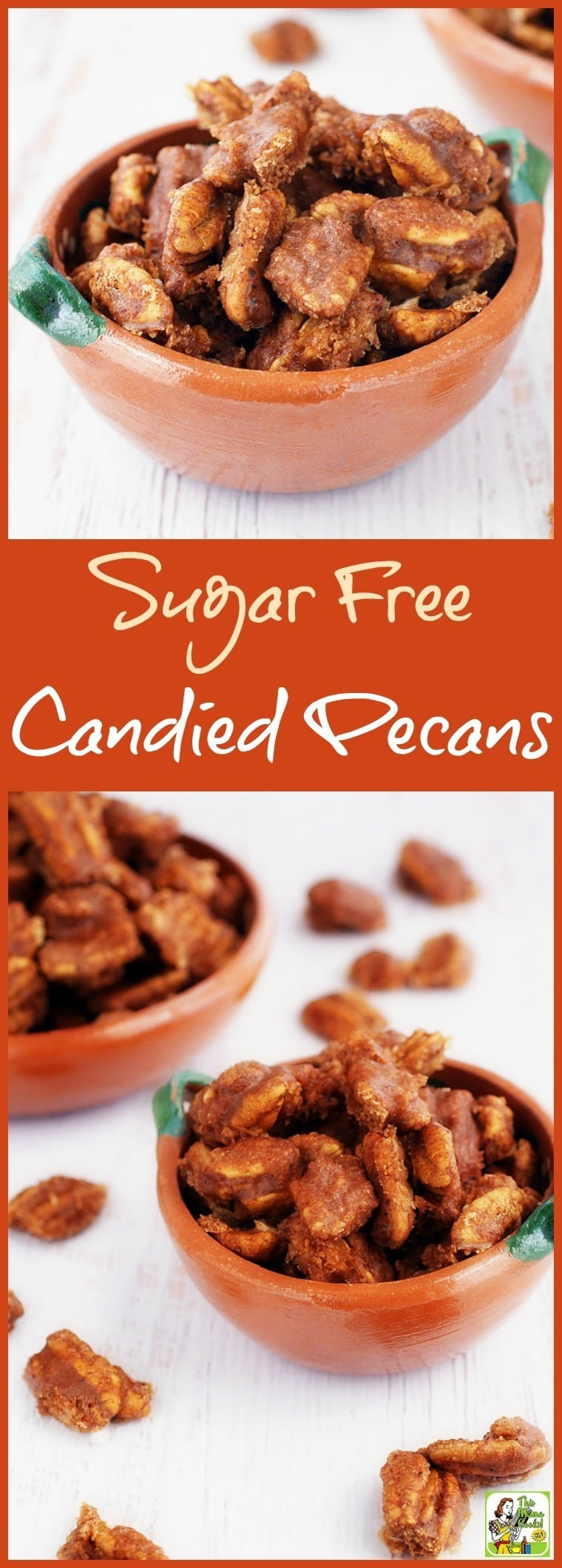 This easy Sugar Free Candied Pecans recipe makes a wonderful homemade gift. You can also use the sugar free candied pecans in salads, in baking, on yogurt, and in granola and trail mix. It's made with natural, no calorie sweeteners for a guilt free candied pecan snack!