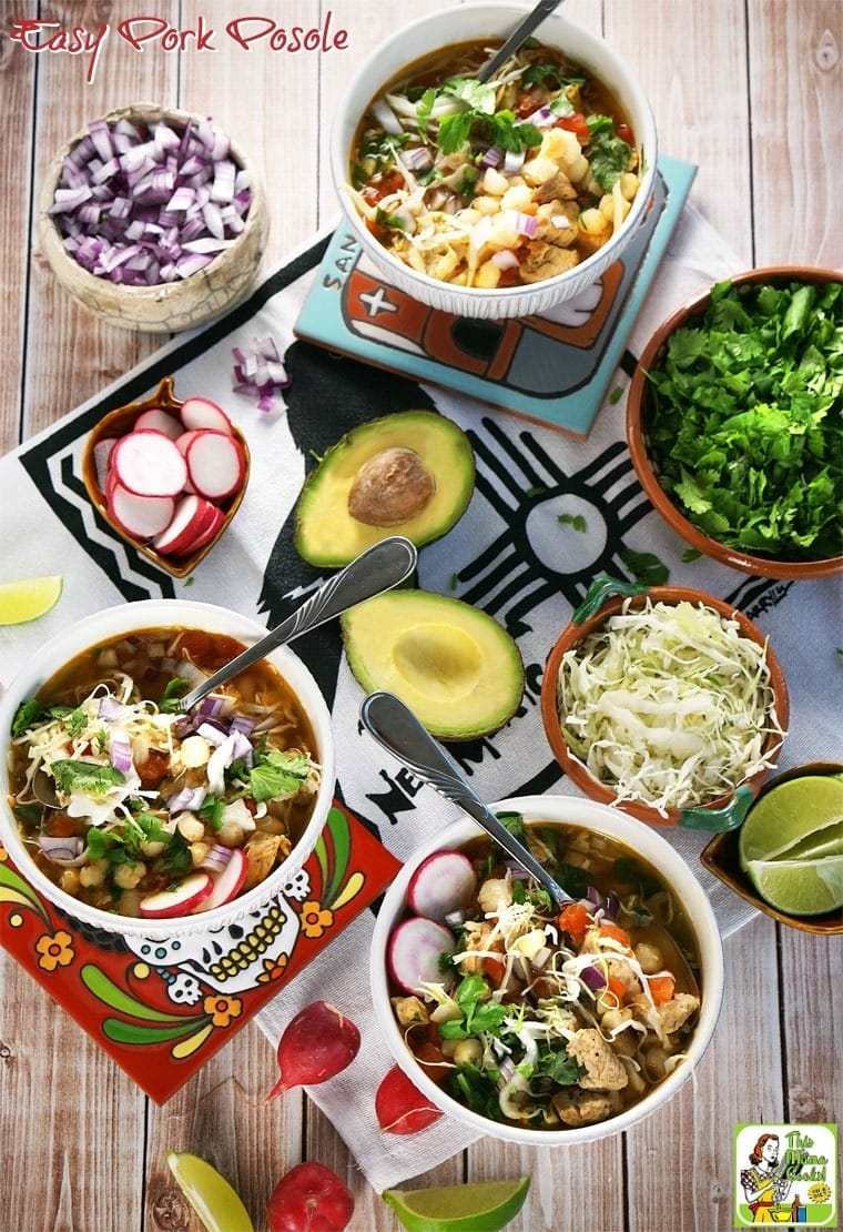 Looking for an Easy Pork Posole recipe? This delicious and gluten free soup recipe is made with marinated pork loin and hominy.