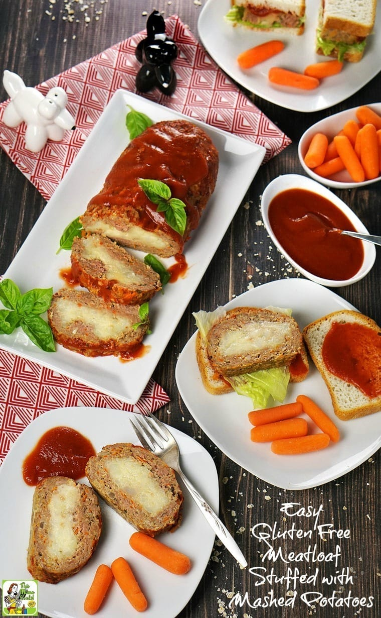 This Easy Gluten Free Meatloaf Stuffed with Mashed Potatoes recipe is terrific for dinner or heated up the next day. Make gluten free sandwiches with cold slices of gluten free stuffed meatloaf!